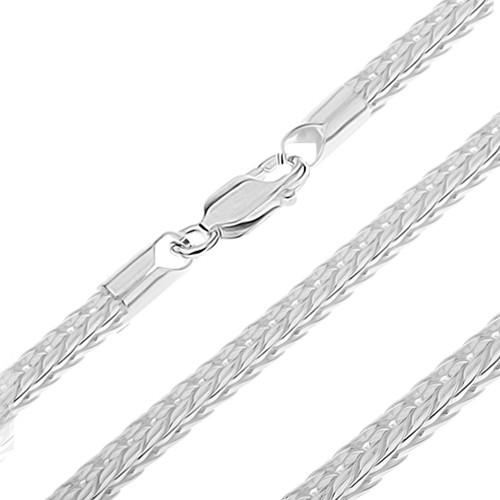 Bijuterii eshop - Lănțișor argint - ochiuri în V, format din patru margini, tip șarpe, 3,5 mm AB2.12