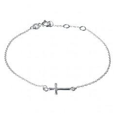 Lănțișor încheietură argint - cruce mică rotunjită, lucioasă