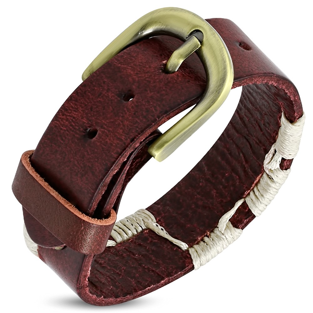 Bijuterii eshop - Brățară din piele - bandă roșie cu șnururi bej S10.04