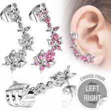 Piercing fals pentru ureche, fluturi și flori cu zirconiu