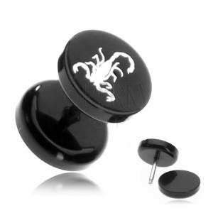 Plug fals din acrilic - scorpion alb pe un fond negru