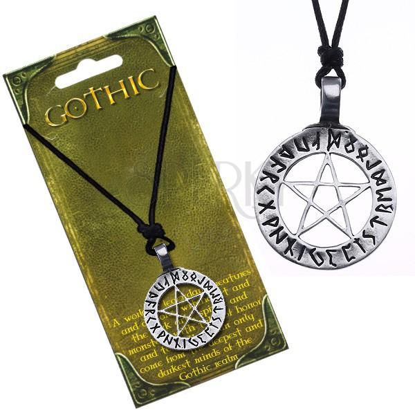 Colier din șnur - pentagramă magică cu piatră scrisă de jur împrejur