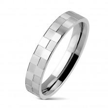 Inel din oțel inoxidabil cu model de tablă de șah