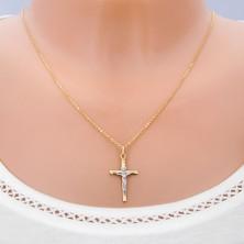 Pandantiv din aur 14K - combinație două culori cu Iisus pe cruce și caneluri