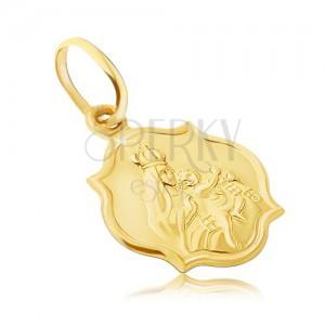 Pandantiv din aur 585 - placă mată dublă cu Fecioara și Iisus