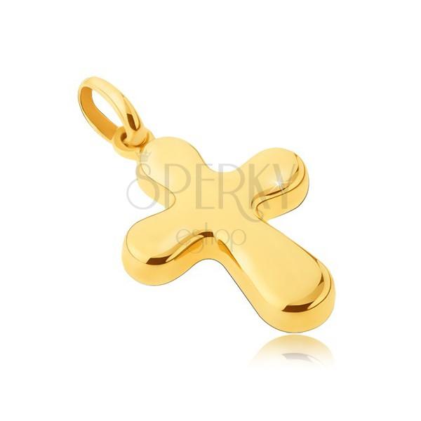 Pandantiv din aur 14K - cruce groasă, lucioasă cu brațe rotunjite