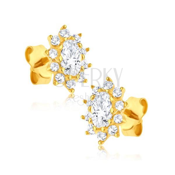 Cercei din aur galben 14K - flori din zirconiu cu oval strălucitor