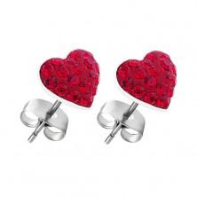 Cercei realizați din argint 925 - model inimă zirconiu roșu, prindere cu șurub