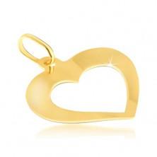 Pandantiv din aur - inimă ușor îndoită lucioasă cu decupaj