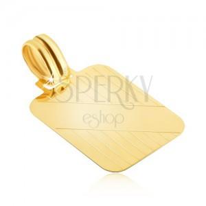 Pandantiv din aur - plăcuță cu caneluri verticale și fâșie diagonală netedă