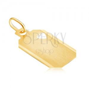 Pandantiv din aur - plăcuță cu inimă decupată și suprafață mată