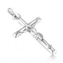 Pandantiv din aur alb - cruce latină netedă cu Iisus proeminent