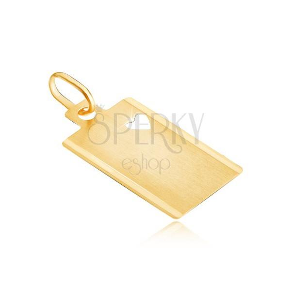 Pandantiv din aur 14K - dreptunghi mat cu inimă decupată