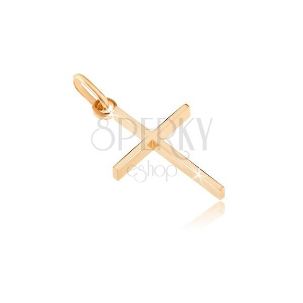 Pandantiv din aur de 14K - cruce subțire cu margini late