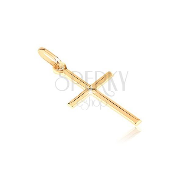 Pandantiv din aur de 14K - cruce latină netedă cu X în mijloc
