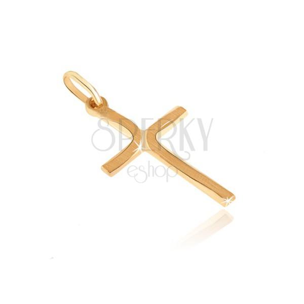 Pandantiv din aur - cruce și curburi mate pe brațe