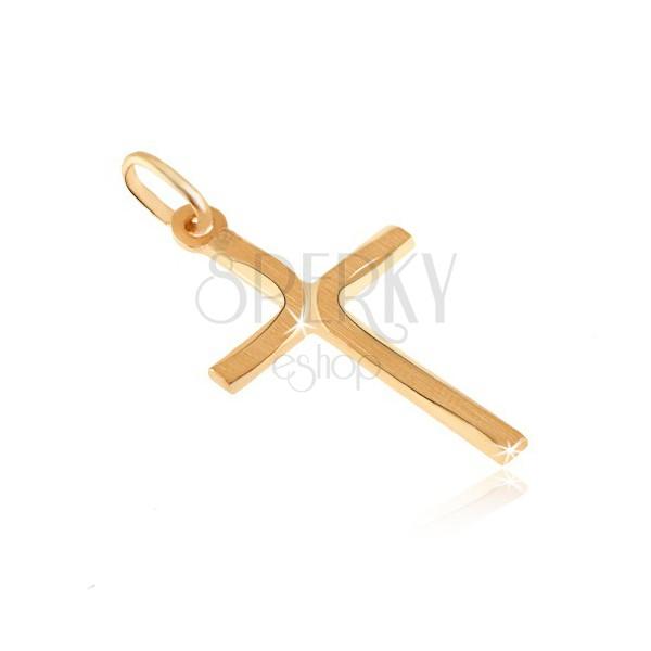 Pandantiv din aur de 14K - cruce cu brațe plate și curburi mate