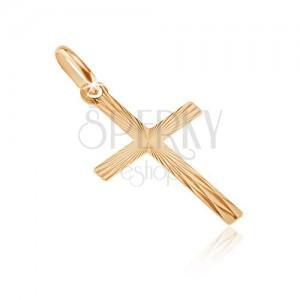 Pandantiv din aur - cruce latină cu linii lucioase