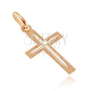 Cruce din aur de 14K - suprafață crestată cu caneluri subțiri pe brațe
