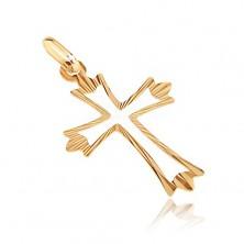 Pandantiv din aur - cruce cu raze pe brațe și decupaje