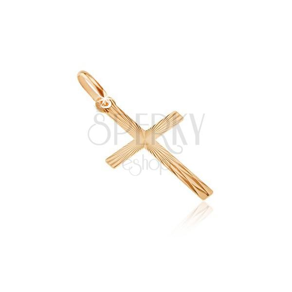 Pandantiv din aur de 14K - brațe înguste cu raze lucioase