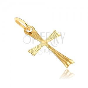 Pandantiv din aur - cruce cu brațe bifurcate și raze