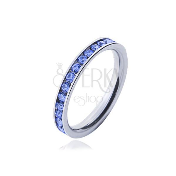 Inel Din Oțel Chirurgical Pietre Albastre Deschis Bijuterii Eshop