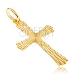 Pandantiv din aur de 14K - cruce cu raze și capete ondulate