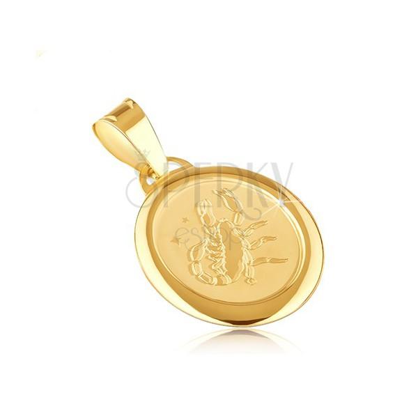 Pandantiv din aur - semnul zodiacal SCORPION pe o placă ovală mată