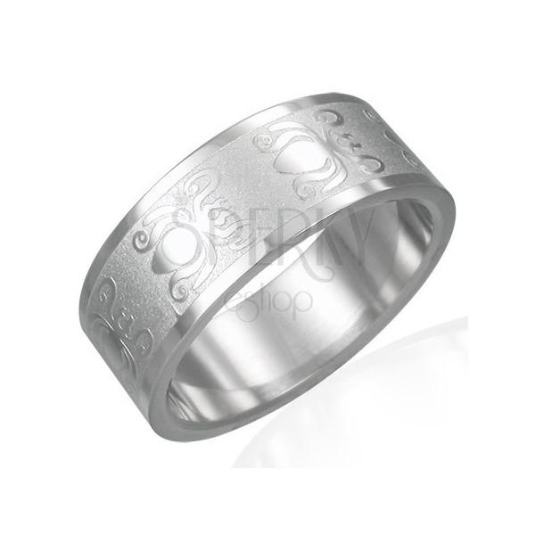Inel din oțel 316L cu suprafață lucioasă-mată - model cu cărăbuși, 8 mm