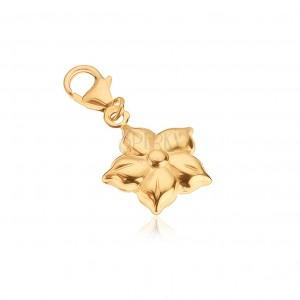 Pandantiv din aur - floare lucioasă cu cinci petale