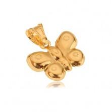 Pandantiv din aur de 14K, fluture 3D, suprafață lucioasă