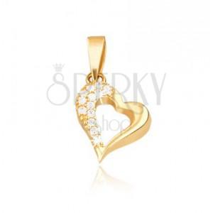 Pandantiv din aur 14K - contur de inimă neregulată, zirconii
