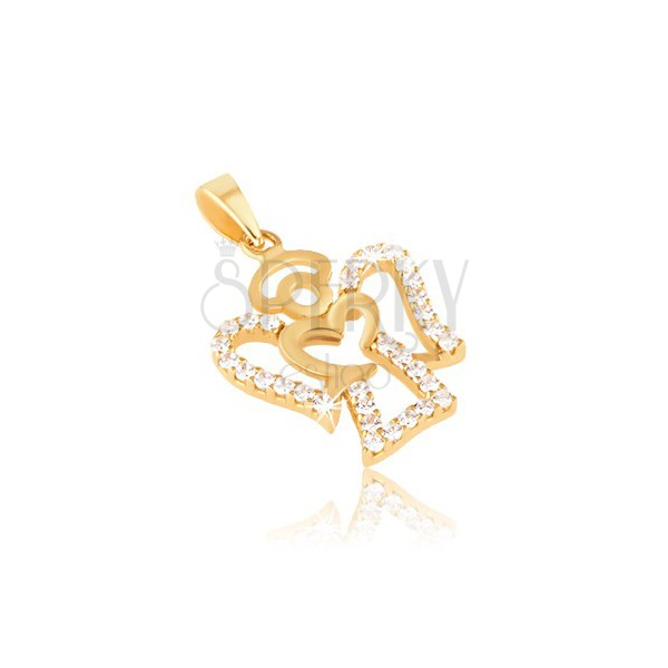 Pandantiv din aur galben de 14K - conntur de înger, zirconii rotunde transparente