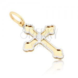 Pandantiv din aur - cruce lucioasă, brațe cu trei capete rotunjite, contur decorativ