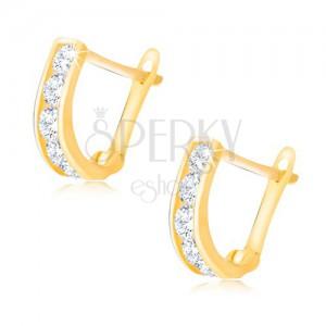Cercei lucioși din aur - fâșie verticală cu zirconii rotunde transparente