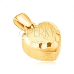 Pandantiv din aur - inimă 3D regulată, satinată, caneluri decorative