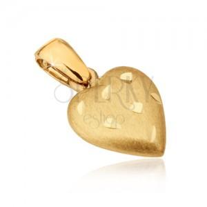 Pandantiv din aur - inimă satinată, caneluri