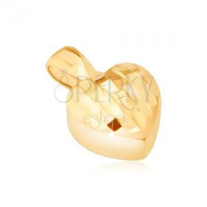 Pandantiv din aur - inimă simetrică 3D, pete mici lucioase