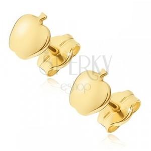 Cercei din aur 14K - măr mic lucios, închizătoare cu șurub