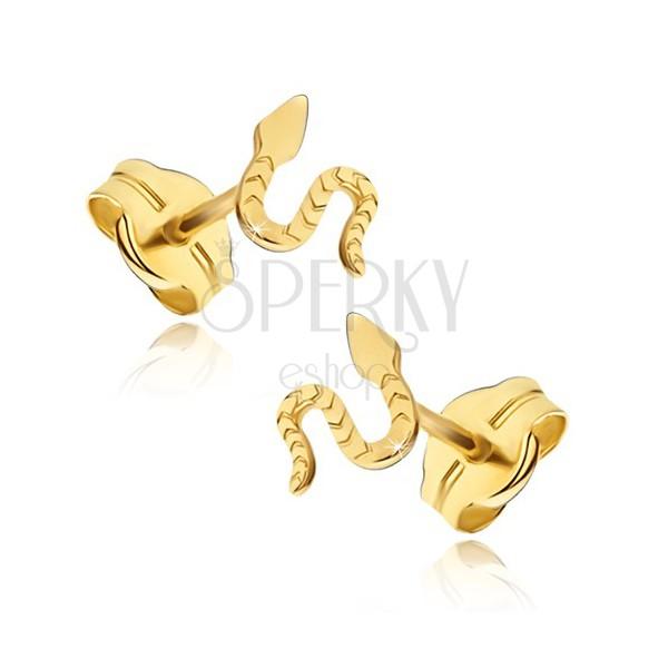 Cercei din aur galben 14K - șarpe lucios, suprafață canelată