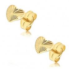 Cercei din aur galben 14K - inimi neregulate lucioase, raze canelate