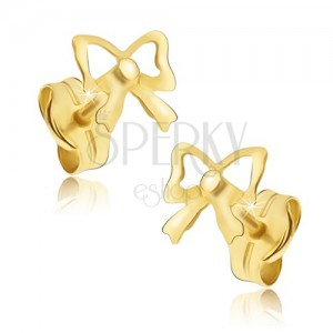 Cercei din aur cu șurub - fundițe lucioase
