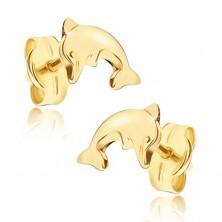 Cercei lucioși din aur galben 14K - delfin săritor cu corpul îndoit