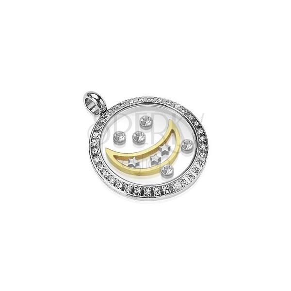 Pandantiv din oțel chirurgical - cerc cu lună, stele și zirconii