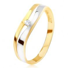 Inel din aur 14K, linie ondulată divergentă, zirconiu transparent, două culori