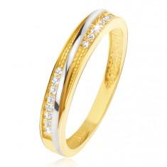 Inel din aur galben 14K - crestături triunghiulare decorative, zirconii