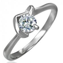 Inel de logodnă cu zirconiu cu model în V