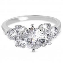 Inel de logodnă din oțel 316L - zirconii rotunde strălucitoare și transparente