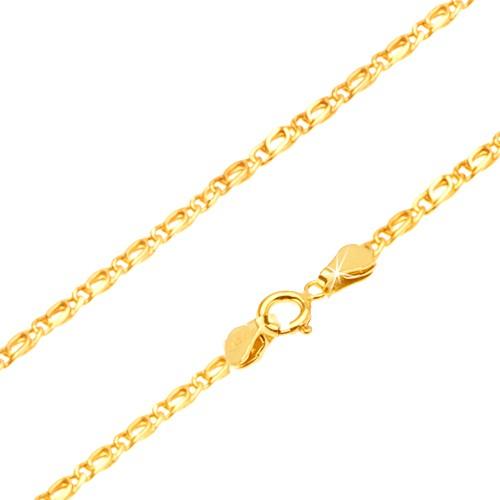 Bijuterii eshop - Lanț din aur -zale ovale lucioase legate, plate 450 mm GG25.31